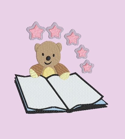 Bear With Open Book 5x7