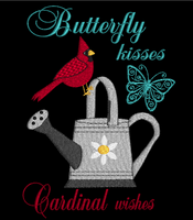 Butterfly Kisses Cardinal Wishes 5x7