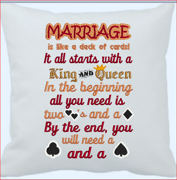 Marriage Is Like A Deck Of Cards  9x6