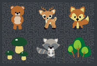 Quilting Square Animal Babies 1-6    4x4