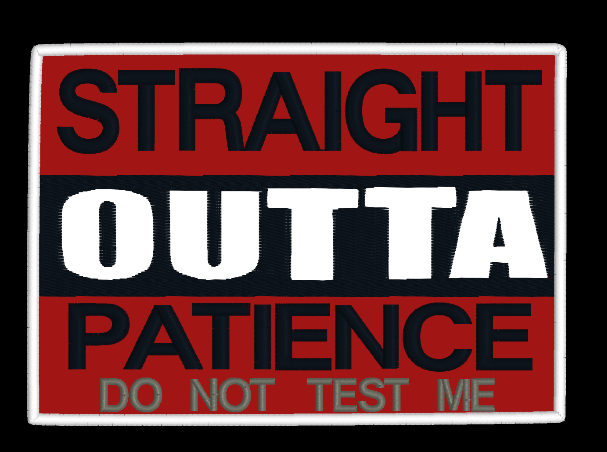 Straight Outta Patience Mug Rug 5x7