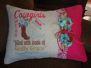 Cowgirls Wear  Boots And Lace  9x6