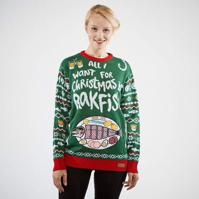 All I Want Is Rakfisk (Dame) Christmas Sweater Womens SillySanta