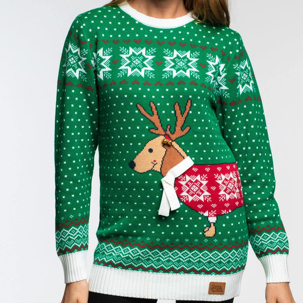Merry Dogmas (Dame) Christmas Sweater Womens SillySanta