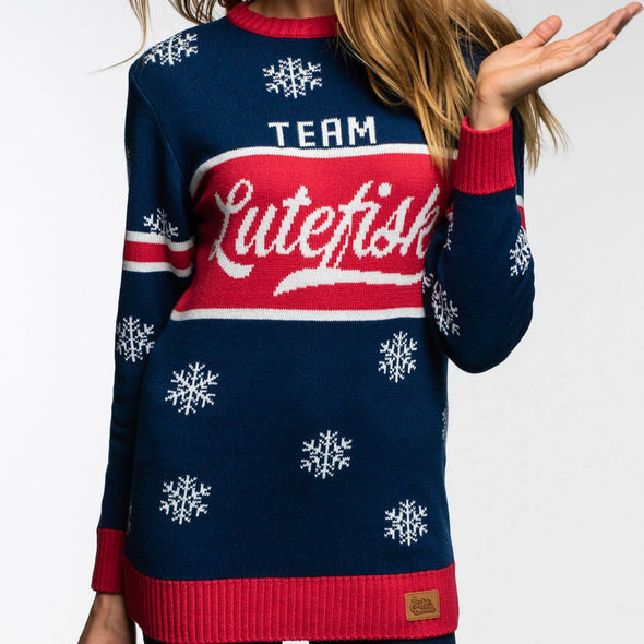 Team Lutefisk (Dame) Christmas Sweater Womens SillySanta