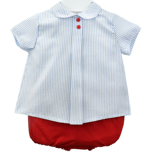 Peter pan pin stripe shirt with red jam pants