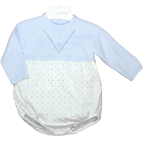 Baby Blue Knitted Polka Dot Romper