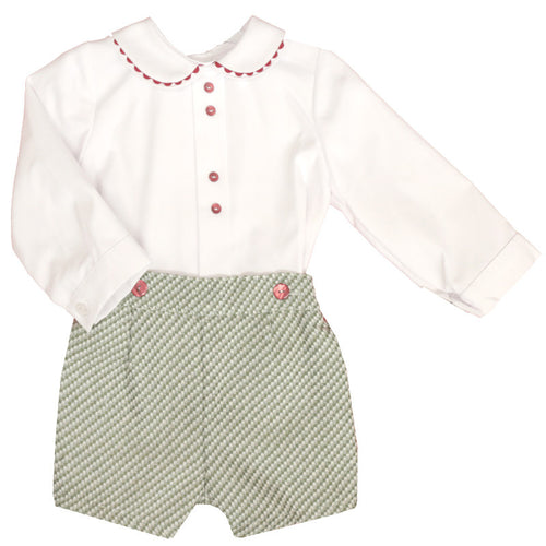 Boys Long Sleeve Shirt and Tweed Short Set