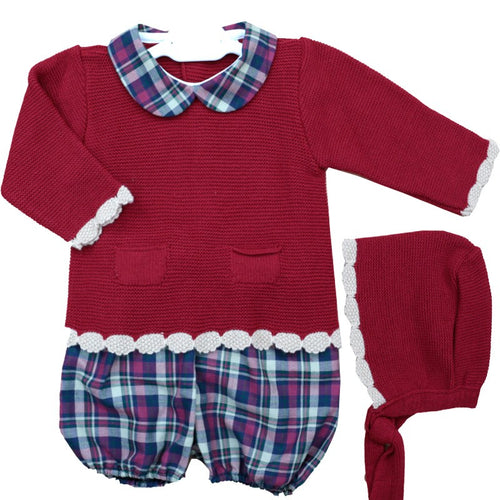 Red Tartan 3 Piece Knitted Set