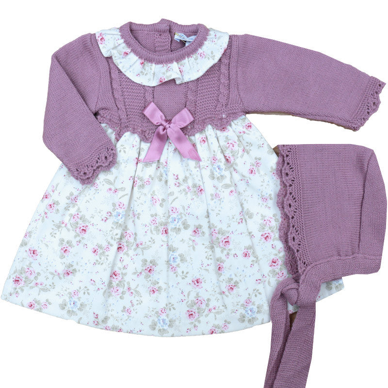 Dusky Pink Knitted Floral Dress and Bonnet