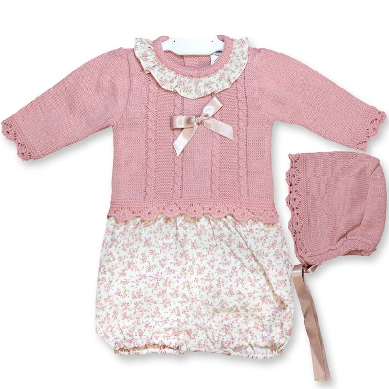 Pink and floral knitted 3 piece set