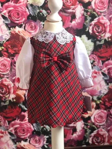 Red Tartan Blouse Dress