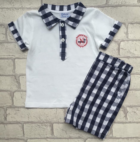 Boys checkered polo top and shorts set