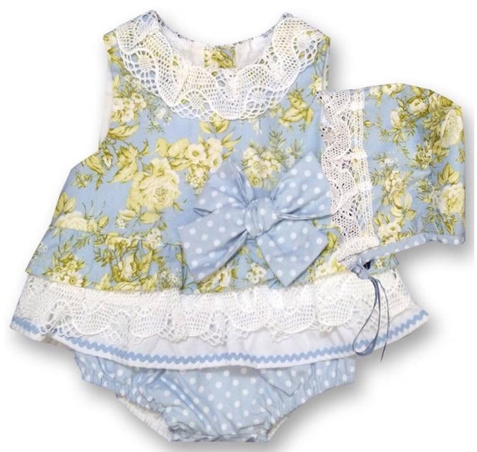 Pale blue and yellow toile 3 piece set
