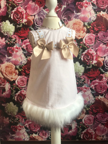 Wee Me Gold Bow Dress with Fur Trim