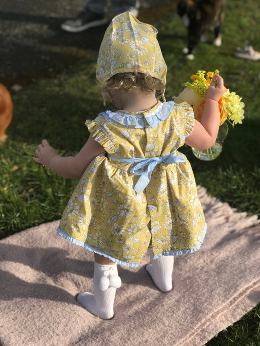 Yellow Flowery Plumeti Dress