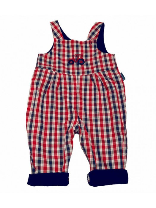 Red Checked Tractor Dungarees