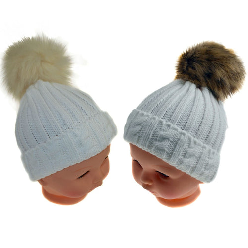 White cable knit hat with fur pompom