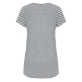 DooDooMooky Maternity & Nursing T-Shirt Small Doo Doo Mooky Face Stripe Grey & White with Grey