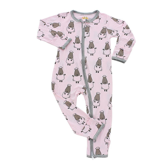 Romper Zip Big Sheepz Pink with Grey Border