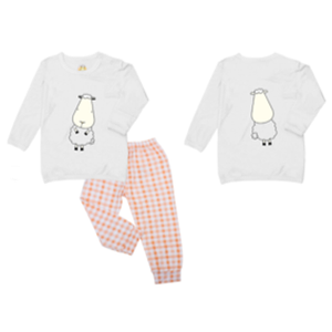Pyjamas Set Front & Back Sheepz White + Checkers Orange