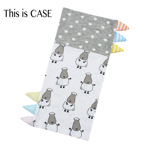 Bed-Time Buddy™ Case Big Sheepz White + Polka Dot Grey with Color & Stripe tag - Medium