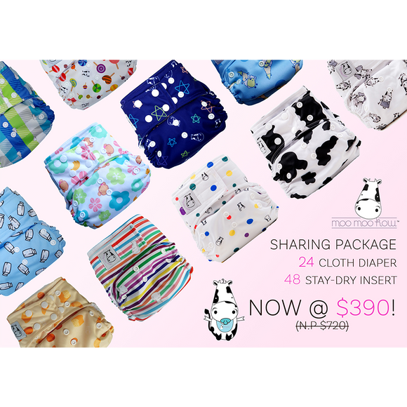 Sharing Package - 24 Moo Moo Kow Diapers