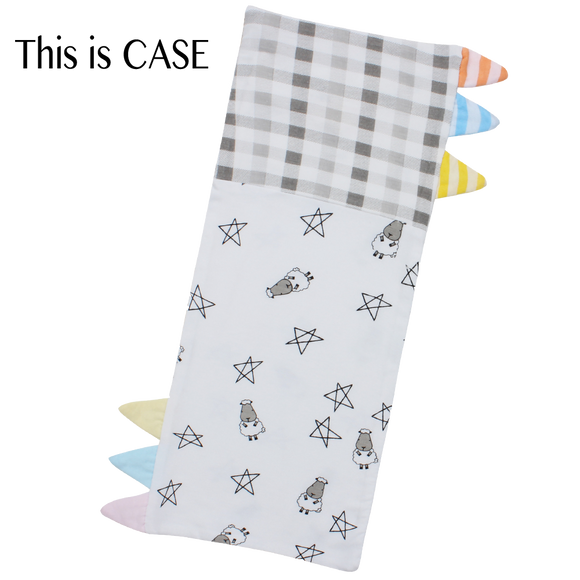 Bed-Time Buddy Case Small Star & Sheepz White + Checkers Grey with Color & Stripe tag - Small