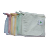 CrokCrokFrok Bamboo Wash Cloth - White with Pink Border
