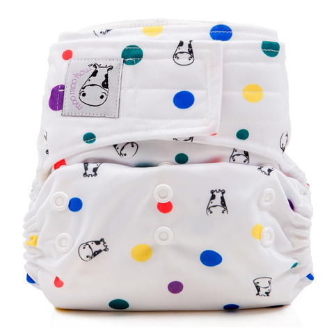 MooMooKow Cloth Diaper One Size Aplix - DotDot
