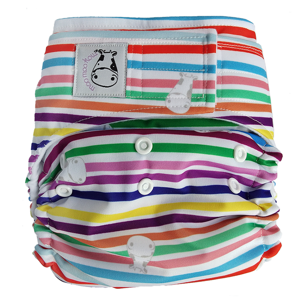 MooMooKow Cloth Diaper One Size Aplix - Rainbow