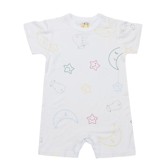 Romper Short Sleeve Colourful Moon & Star White
