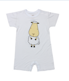 Romper Short Sleeve White Front & Back Sheep