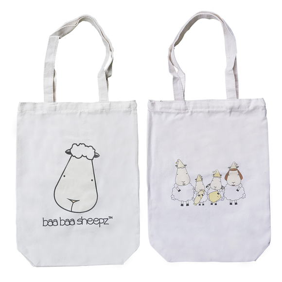 Canvas Tote Bag Baa Baa Sheepz Family  White