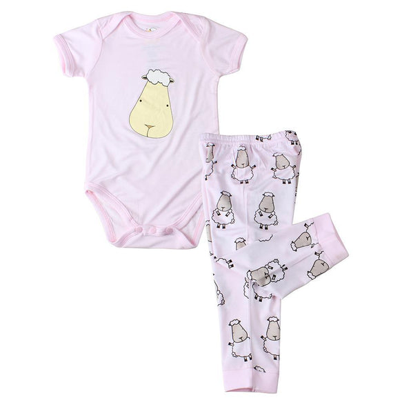bamboo onesie baby pink