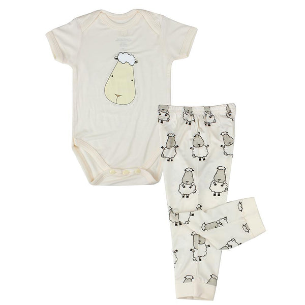 BaaBaaSheepz Bamboo Short Sleeve Onesie Yellow Big Face + Pant Yellow Big Sheepz