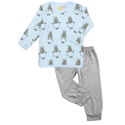 BaaBaaSheepz Bamboo Long Sleeve Shirt Blue Big Sheepz + Pant Grey Colour