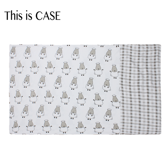 Bed-Time Buddy Case Big Sheepz White + Checkers Grey - Adult
