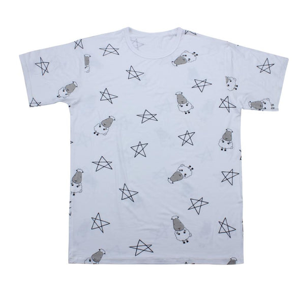 Unisex Short Sleeve T-Shirt Big Star & Sheepz White