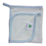 CrokCrokFrok Bamboo Wash Cloth - White with Blue Border