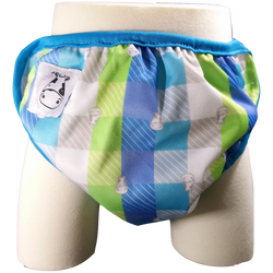 MooMooKow One Size Swim Diaper Checkers with Blue Border