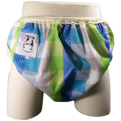 MooMooKow One Size Swim Diaper Checkers with Butter Border