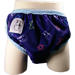 MooMooKow One Size Swim Diaper Color Star with Blue Border