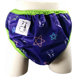 MooMooKow One Size Swim Diaper Color Star with Green Border