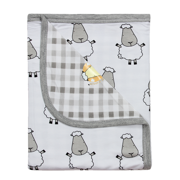 Double Layer Blanket White Big Sheepz + Grey Checkers
