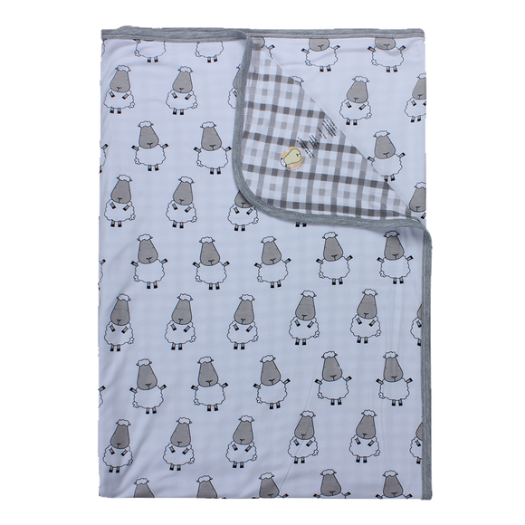 Double Layer Blanket Big Sheepz White + Checkers Grey Large