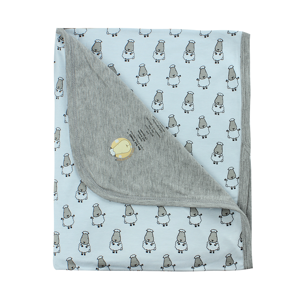 BaaBaaSheepz Bamboo Double Layer Blanket Blue Small Sheepz