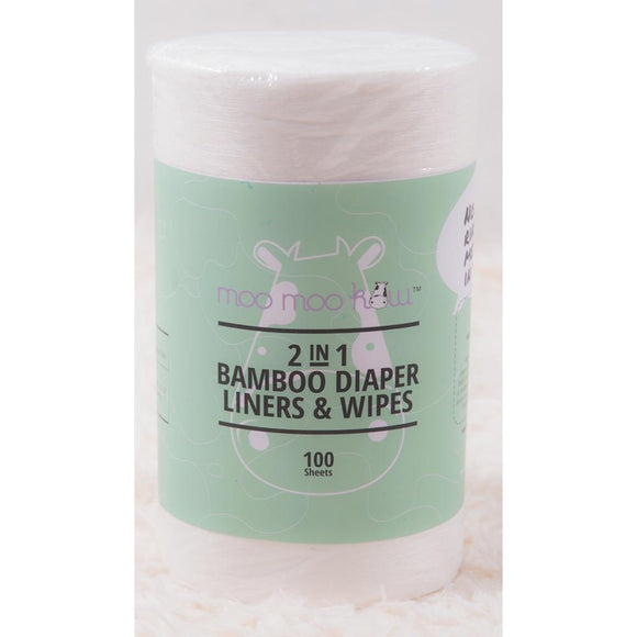 2 in 1 Bamboo Diaper Liners & Wipes