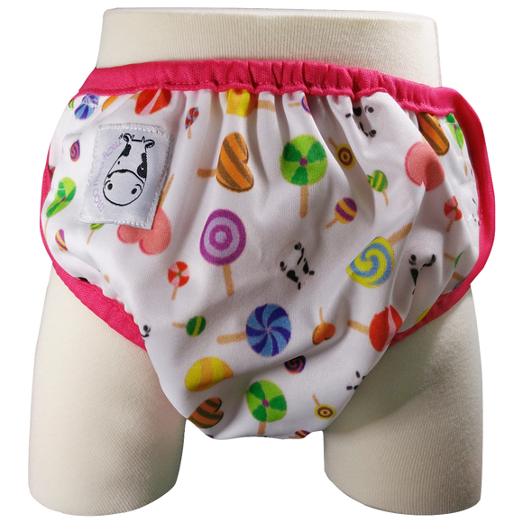 One Size Swim Diaper Lollipop with Pink Border