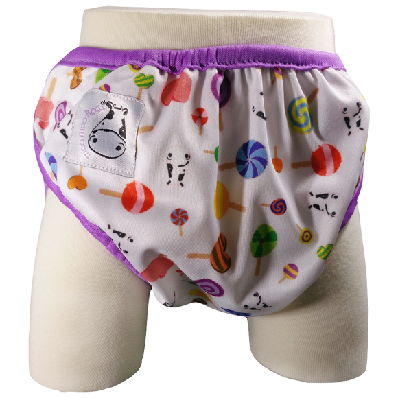 One Size Swim Diaper Lollipop with Purple Border